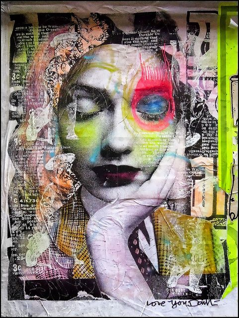 I love stumbling onto amazing finds like this one!  I am inSpiReD ... DAIN, the New York City street artist best known for his use of collage-nested iconic images, splashes of neon paint, and brightly circled eyes!