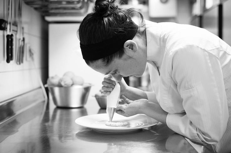Precision, dedication and delicacy. Head Pastry Chef, Joana Thöny Montbabut, hard at work. #Restaurant #paris #fivestar #luxury #michelinstar