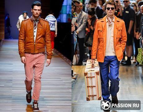 Мужская коженная оранжевая куртка