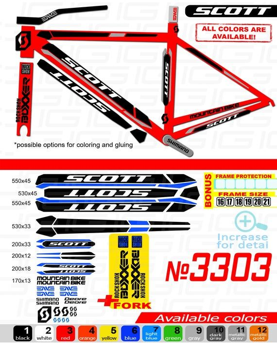 Scott 3303 Bike Frame Stickers Bicycle Stickers Stickers On The