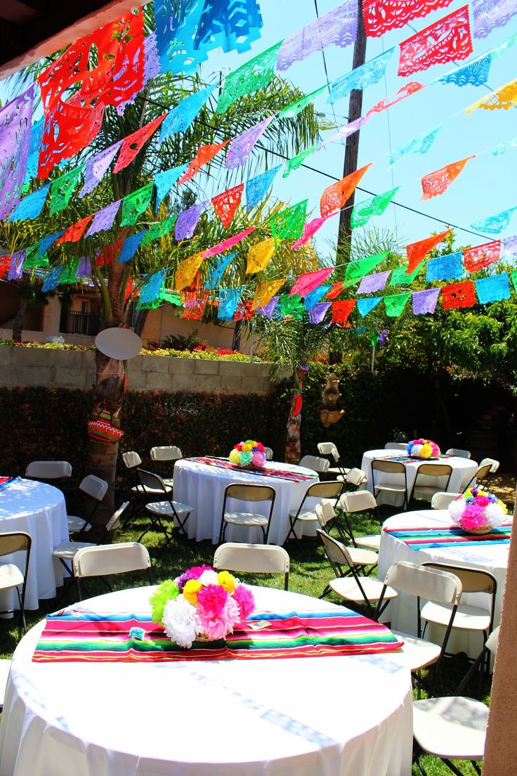 Mexican party theme paper flowers mexican party decorations Paper flowers : supply's bought at dollar tree 30 flowers for about $3.00 Zarape (table covers) bought at El Mercadito  in east LA $40 for 6 Papel picado (banners) orientaltrading.com 100ft for about $20
