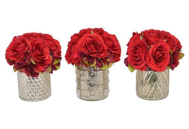 """S/3 8"""" Red Rose Arrangements, Faux"""