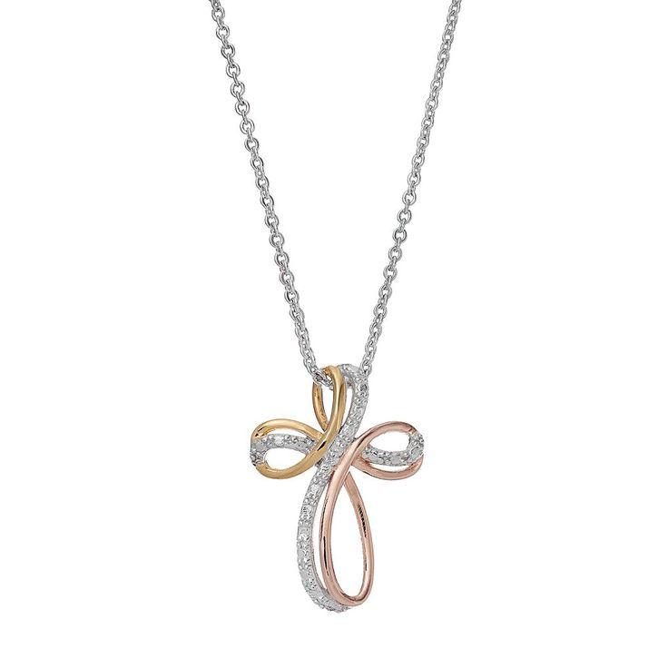 Delicate Diamonds Tri-Tone Sterling Silver Cross Pendant Necklace, Women's, multicolor
