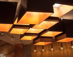 12 hanging lamps in hotel lobby #copper