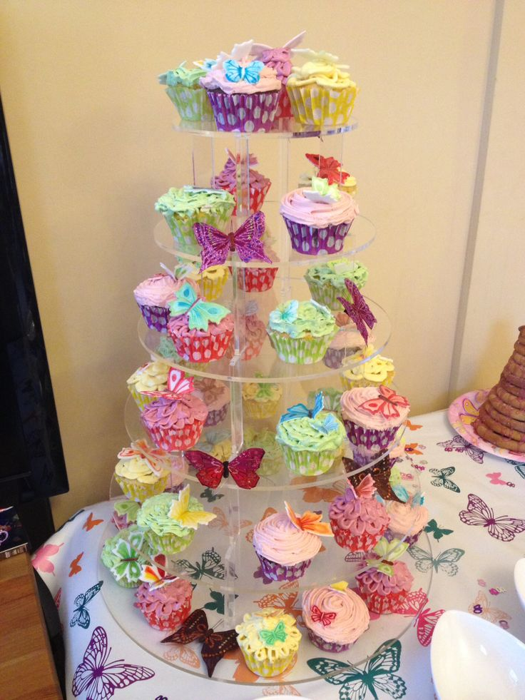 40 cupcakes for a 40th birthday, petal icing with individually flower paste butterflies - hand painted