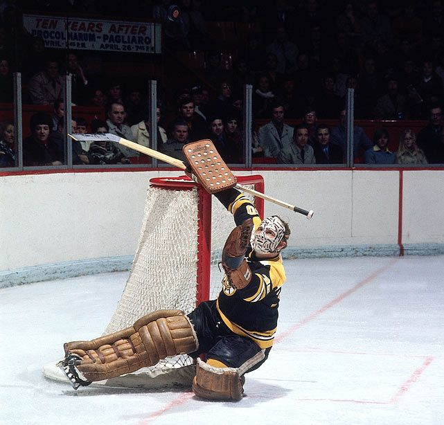 Bruins Goalie Gerry Cheevers Keeps His Eyes On The Puck In