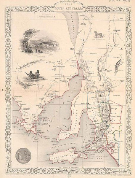 1851 J. Tallis 'Part of South Australia' - Antique Map of Australia