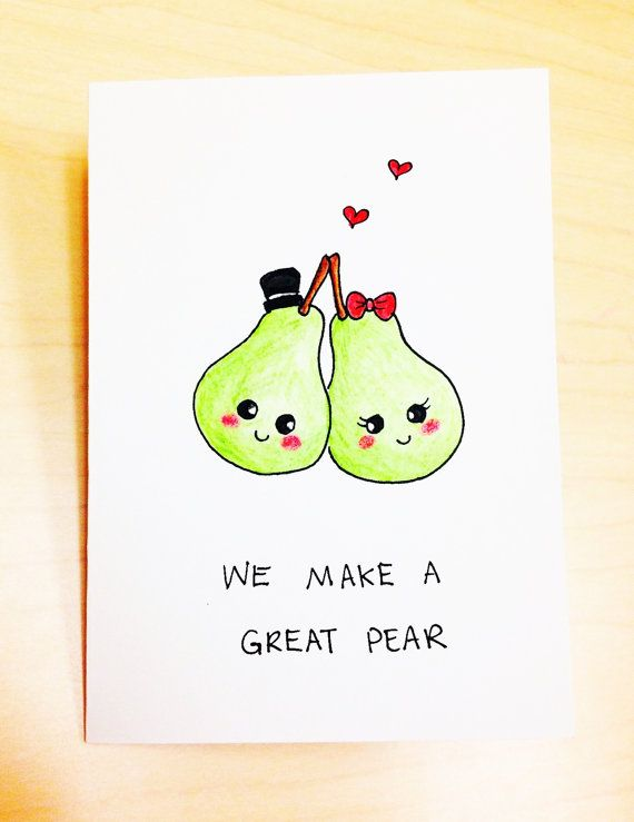 Funny anniversary Card, we make a great pear, cute love card, simple greeting card, fruit pun card, boyfriend, girlfriend, hand drawn card by LoveNCreativity