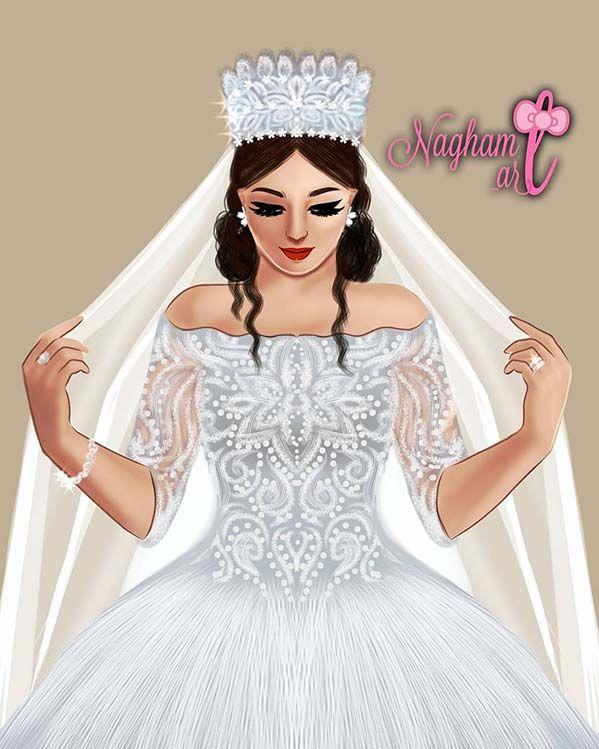 خلفيات بنات كرتونيه رمزيات كرتون للبنات Wedding Dress Illustrations Simple White Wedding Dress Girl Pictures