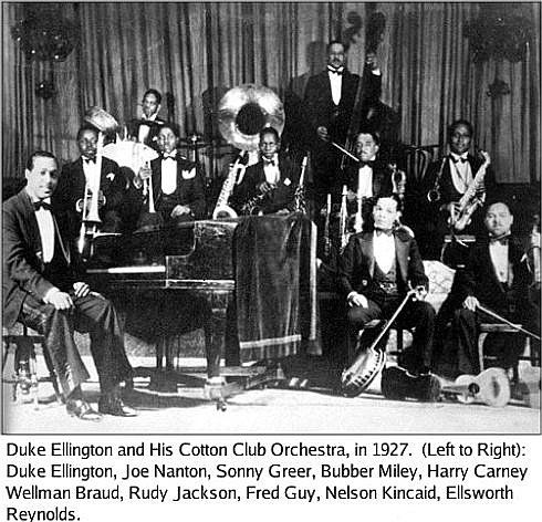"Duke Ellington & his orchestra began a four-year residency at Harlem's famous Cotton Club (December 4, 1927). A succession of popular radio broadcasts from the Cotton Club brought him national fame & his name became known around the globe after the successes of ""Mood Indigo"" (1930) and ""It Don't Mean a Thing (If it Ain't Got that Swing)"" (1932). In 1933 he took his band on their first tour of Europe. By this time singer Cab Calloway had succeeded Mr Ellington at the Cotton Club."