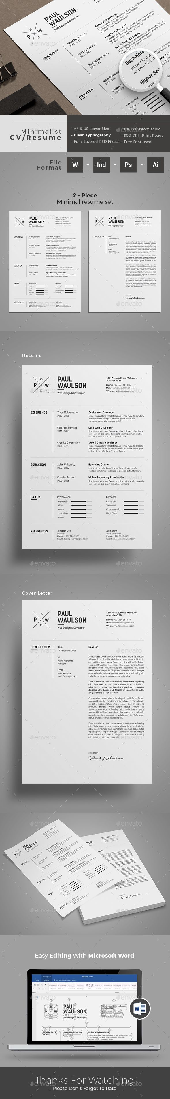 Clean Resume Template Minimal Design Typography Inspired Resume | IDML, INDD, PSD, AI and MS Word version available | Download https://graphicriver.net/item/resume/18024089?ref=themedevisers