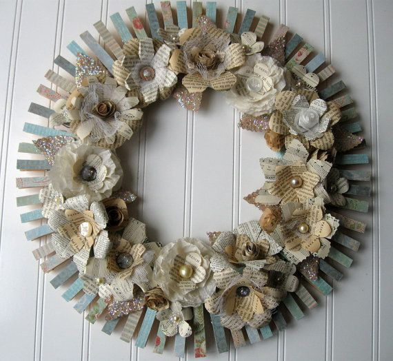 clothespin flower wreath cream text flowers and aqua base sheet music book page flowers