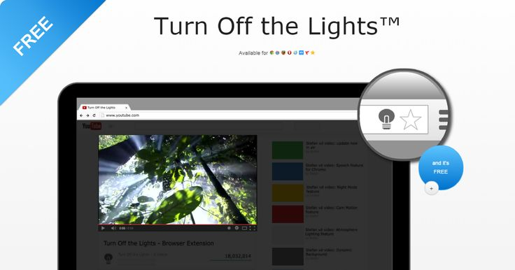 Welcome to Turn Off the Lights, the Firefox extension that give focus to YouTube and the HTML5 video player.
