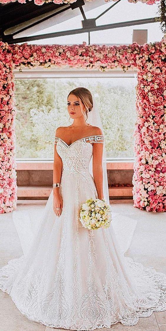 33 Romantic Off The Shoulder Wedding Dresses off the shoulder wedding dresses lace a line with train fashion isabellanarchi See more: www.weddingforwar… #weddingforward #wedding #bride #wedding #weddingideas #weddings #weddingdresses #weddingdress #bridaldress #bridaldresses