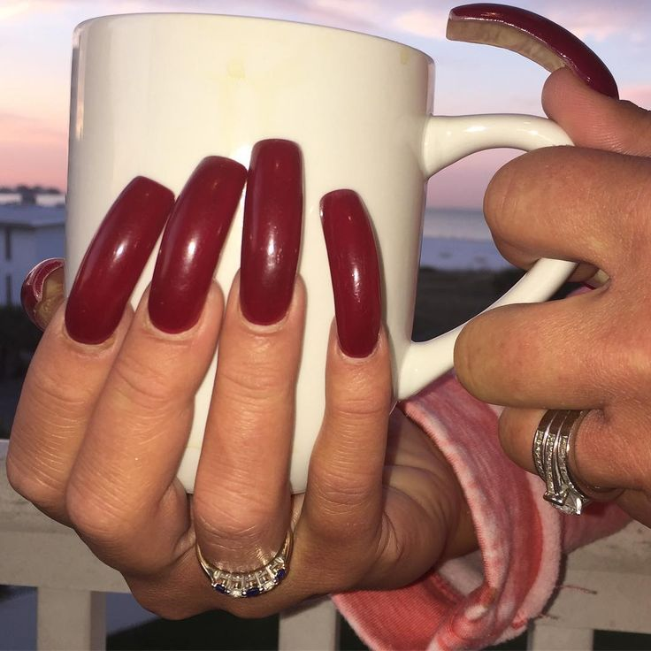 Lovely deep red long curve nails @emilywalls