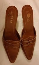 """Ralph Lauren Clay Color Leather Loafer Style 2 1/2"""" High Hill Slide in Shoe"""