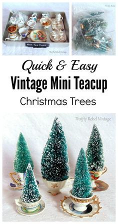 Mini teacup cup trees. Fill mini tea cups and saucer sets with bottle brush trees for a fun holiday forest.