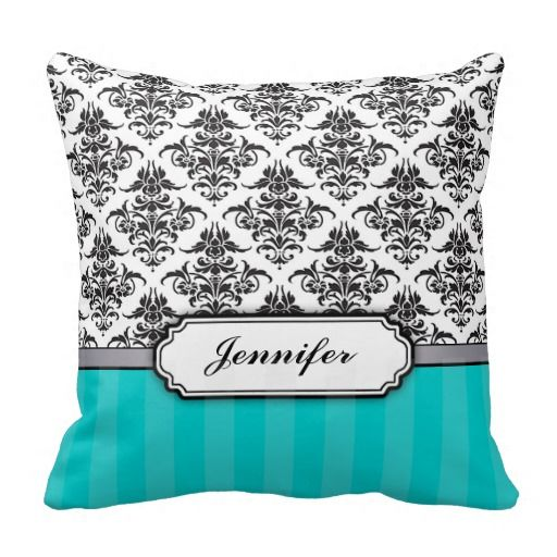 Black and White Damask throw pillow - variable bottom color