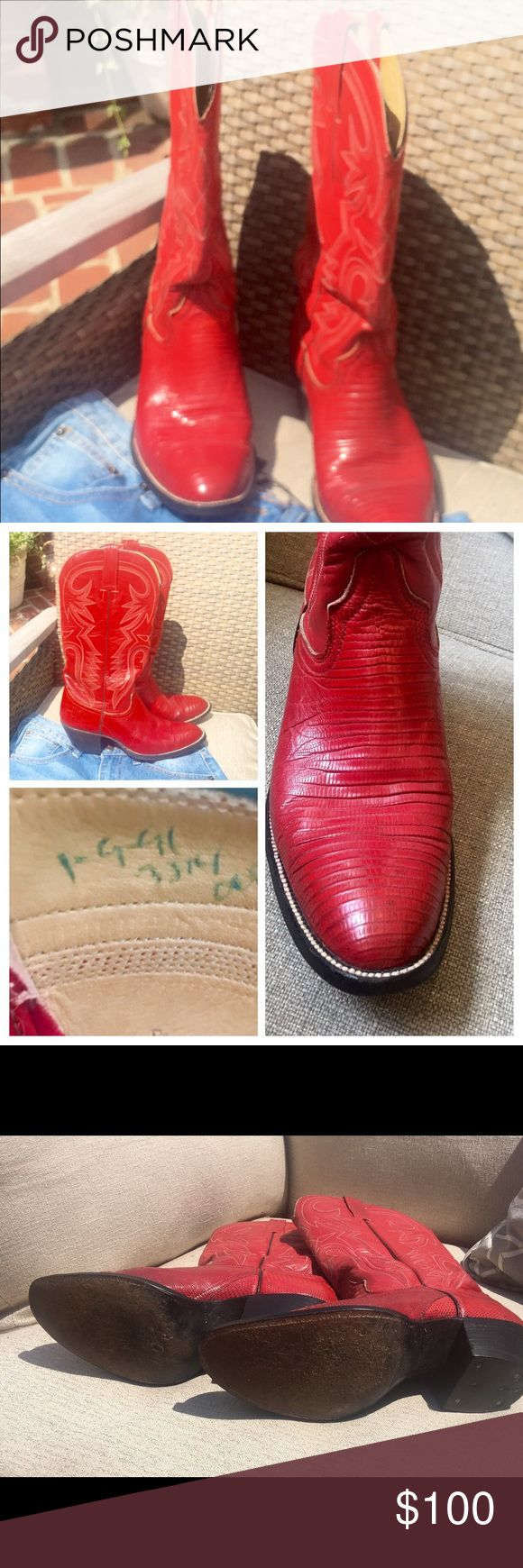 ❤️BJ's Boot Company Women's Red Cowboy Boots Up for sale are a very gently used pair of BJ's Western Store, Cooksville, TN Women's Red Leather W/ Beautiful details Cowboy Boots. I have done research to try to see why these are extra special. If you look at the pictures they are numbered and signed. The Cowboy Boots are custom made for someone.  They are dated, numbered and signed.  Please check their website and FB page for further details .The boots are in excellent condition and needs a…
