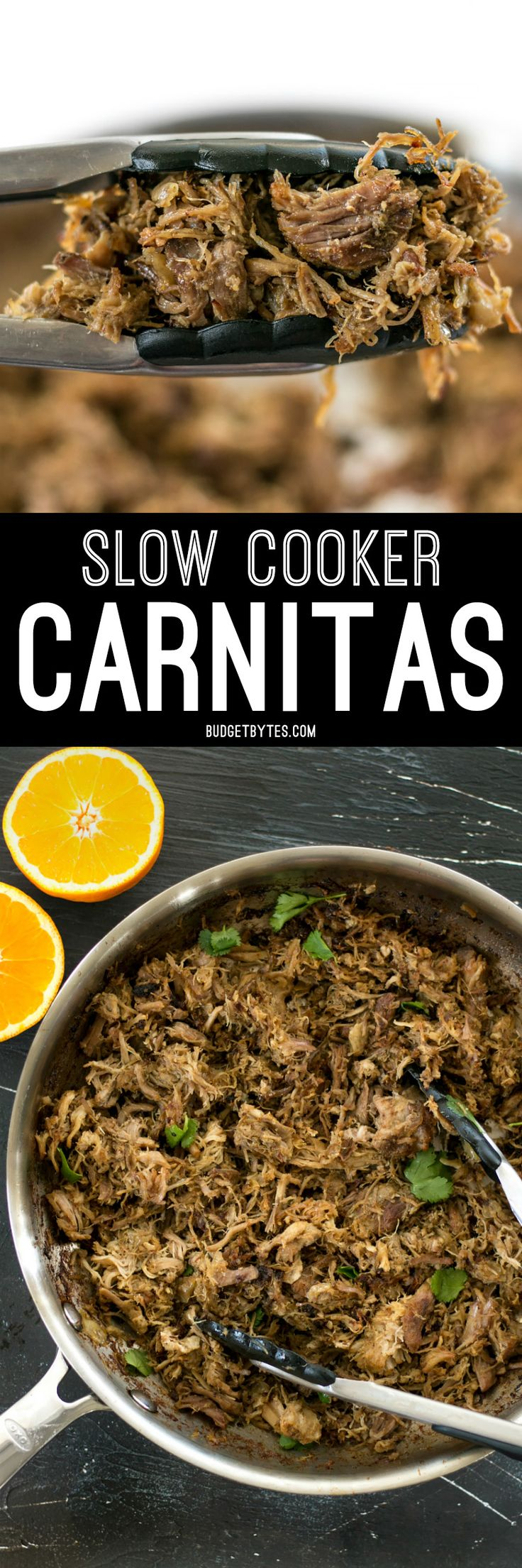 Warm spices, fresh orange essence, and a low slow cook time makes this Slow Cooker Carnitas tender, juicy, and full of flavor. @budgetbytes