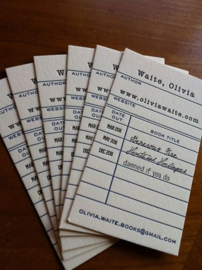 Library-inspired business cards: not my usual taste in design, but strangely brilliant.