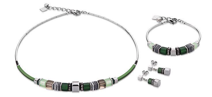 Geo Cube malachite green bronze front set 4766_0500 – Coeur de Lion jewellery