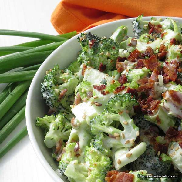 Easy, Low Carb Bacon Broccoli Salad delivers great crunch and flavor. This version with sesame oil is low carb and dairy-free, but totally customizeable.