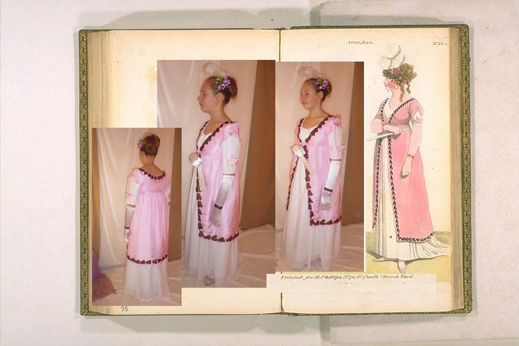 Regency dress from 1800  The model was made in a modified version - without siding and over dress for little young lady :-) Model - 1800, from The Fashions of London & Paris London, Printed for R. Phillips, 4 v Petticoat is made of soft white cotton and pink robe is made of dupioni silk.