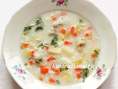 Белый рисовый суп - с плавленным сыром (без мяса)