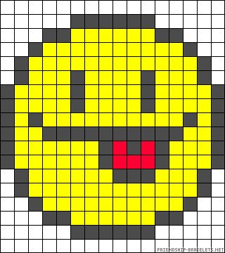 Smiley tongue perler bead pattern