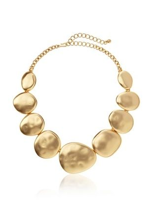 60% OFF Kenneth Jay Lane Satin Gold Flat Disc Necklace