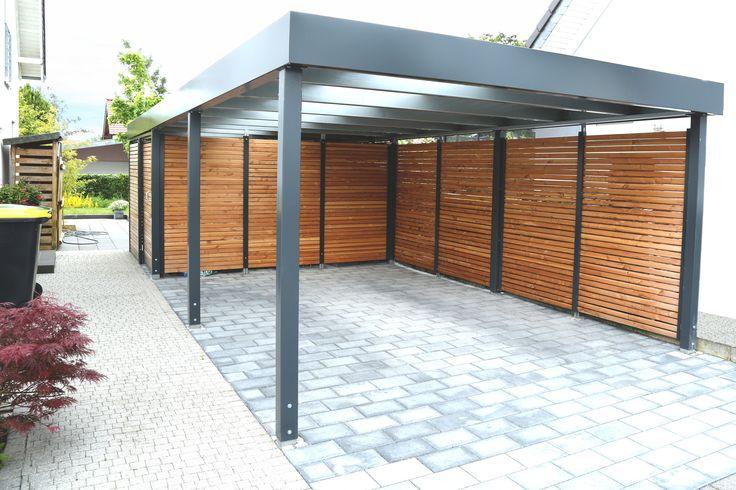 carport einzelcarport betongrau mit wandfeldern schiebet r schickem sektionaltor und. Black Bedroom Furniture Sets. Home Design Ideas