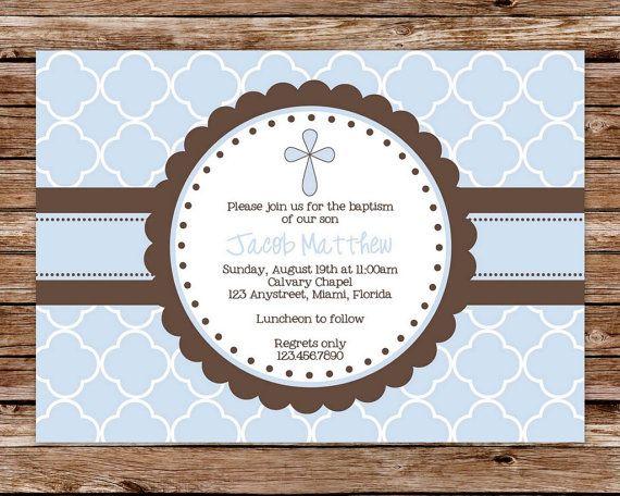 Printable Blue and Brown Boy Dedication, Christening, or Baptism Invitation on Etsy, $12.50