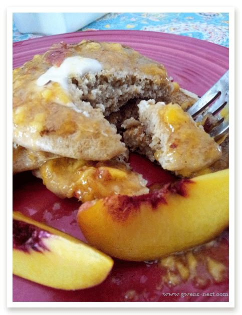 orange peach syrup recipe- sugar free, and full of fresh peach flavor! We love this on sourdough pancakes.