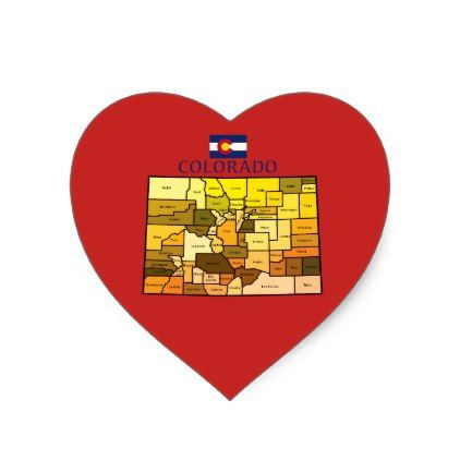 Heart Shaped Sticker with Flag and Map of Colorado  $5.90  by Flags_and_Maps  - custom gift idea