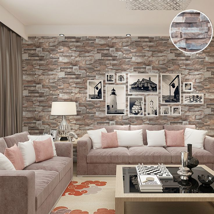 Kitchen Effect Embossed Brick Stone Wallpaper Vinyl Nature Brown Grey Brick  Wall Paper Roll For Bedroom Walls Covering