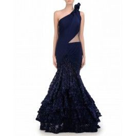 Persian Blue Mermaid Gown with Rosette Skirt