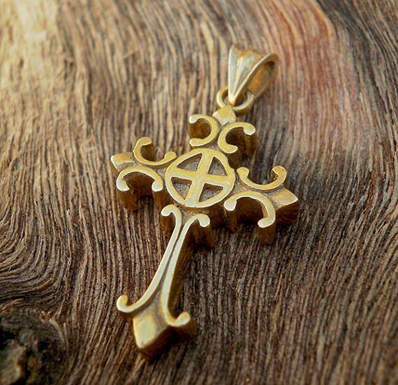Sterling silver renaissance design cross. cross pendant. Middle age cross. Fleur de lis cross.