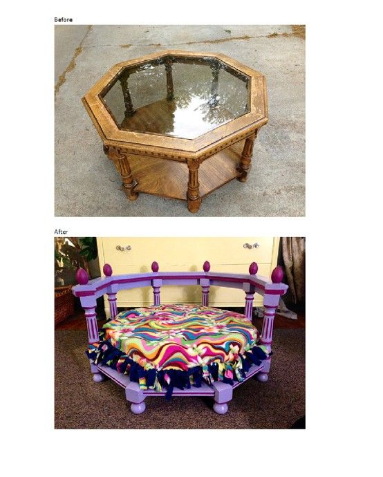 Great concept, different colors needed... Dog bed from table. Great to see a larger cute dog bed.