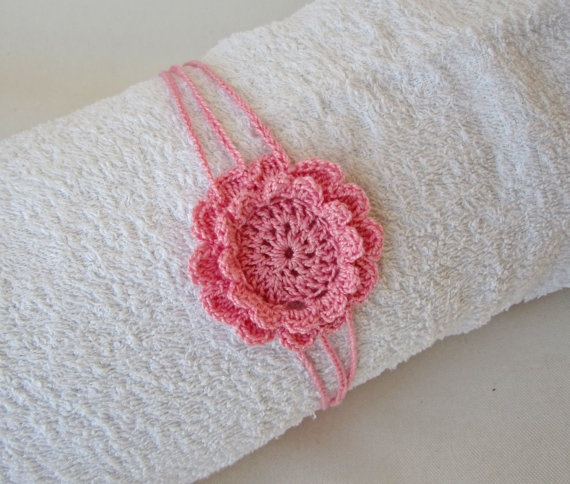 Baby Crochet Headband Lightpink Flower Haeadband Photo by ShopF4m, $10.00