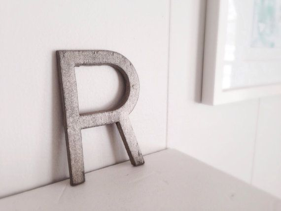 YOU CHOOSE letter cast iron metal painted industrial metallic R on Etsy, $12.00