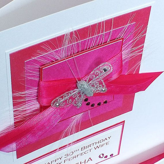 Luxury Boxed Birthday Card for Mum, Daughter, Sister, Nan- 'Large Pink Ribbons' for 18th, 21st, 30th, 40th, 50th, 60th, 70th, 80th, 90th