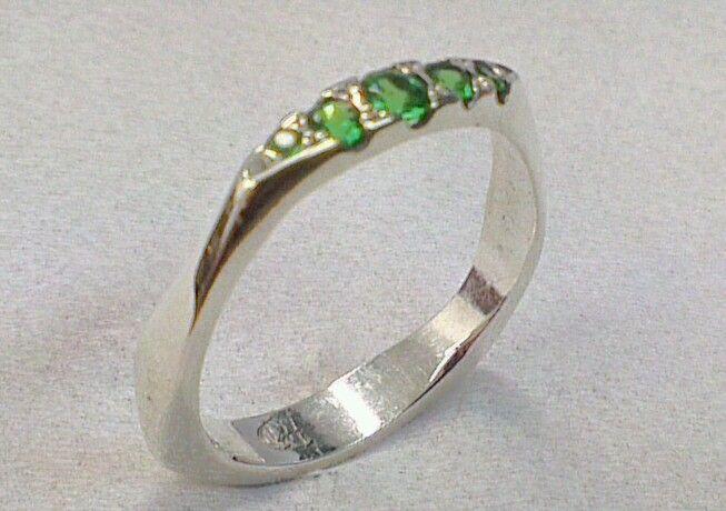 Tsavarite garnet and platinum ring  steinerjewellery.com