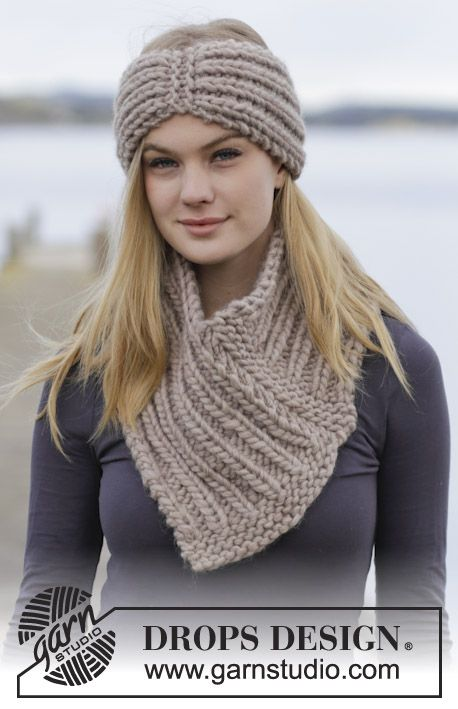 "What A Sight! - Set consists of: Knitted DROPS head band and neck warmer with rib in ""Polaris"". - Free pattern by DROPS Design"