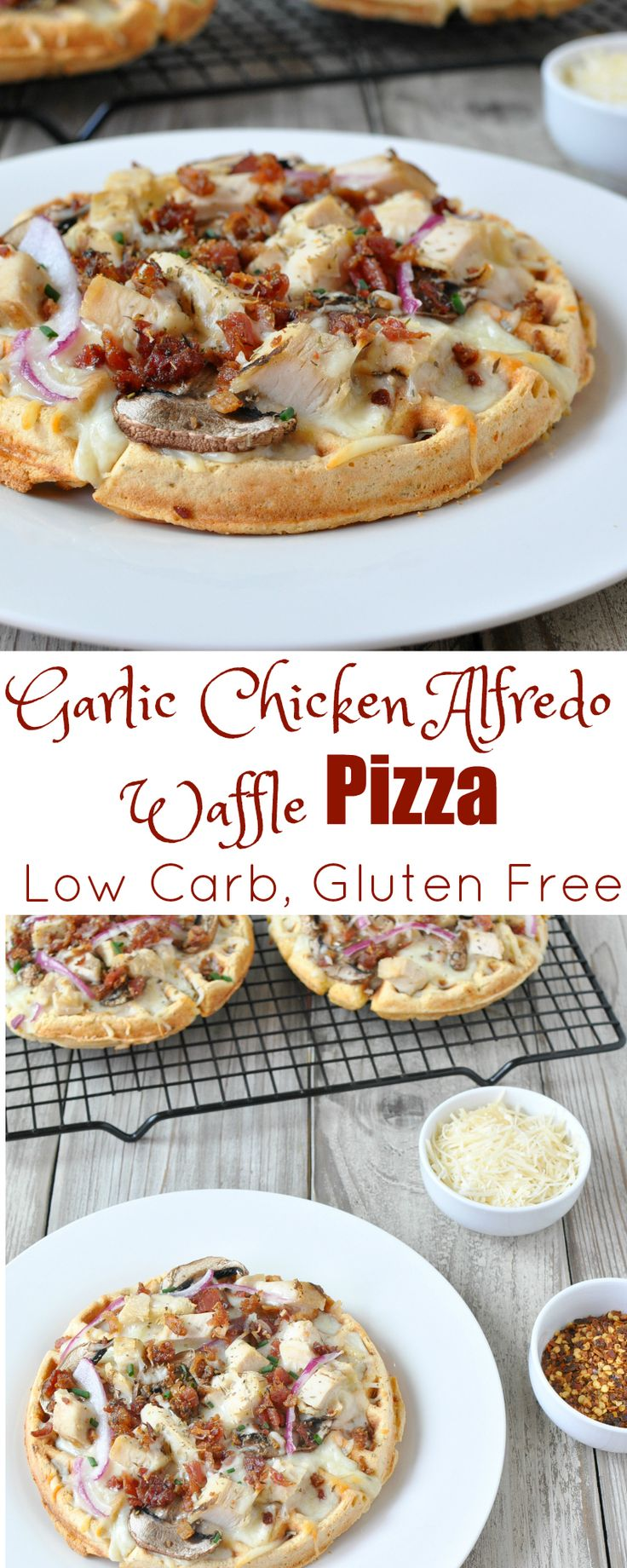 Low Carb Garlic Chicken Alfredo Waffle Pizza - Gluten Free | Peace Love and Low Carb  via @PeaceLoveLoCarb
