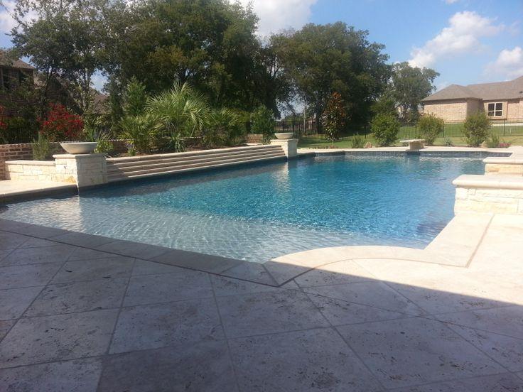 Swimming Pool Spray Deck : Durazzo plaster finish travertine coping travertin pool