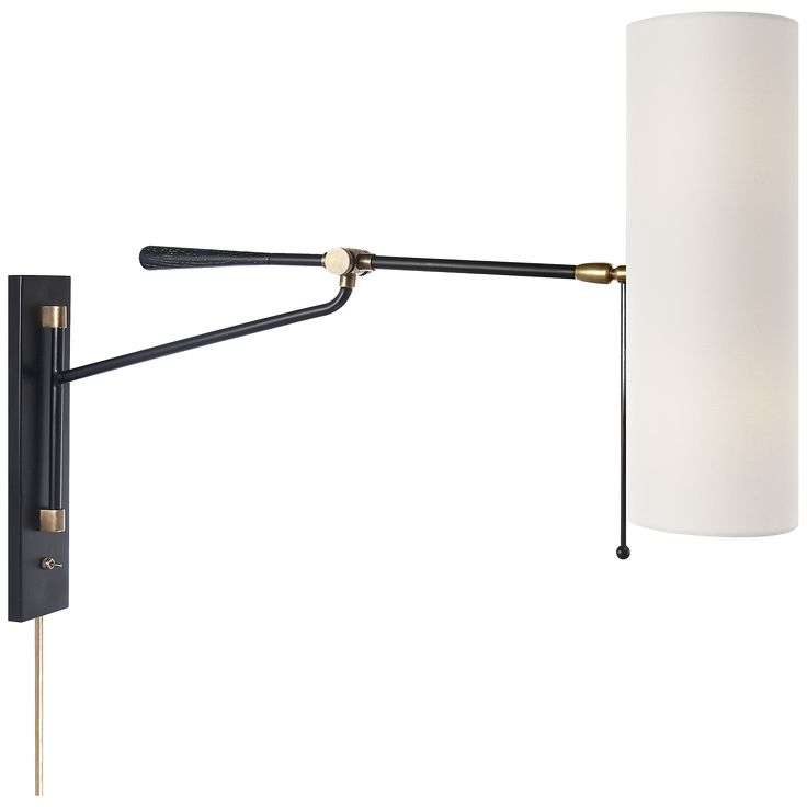 Frankfort Articulating Wall Light in Black and Hand-Rubbed Antique Brass Accents with Linen Shade  sc 1 st  Pinterest & 64 best Sconce Lighting images on Pinterest | Sconce lighting ... azcodes.com