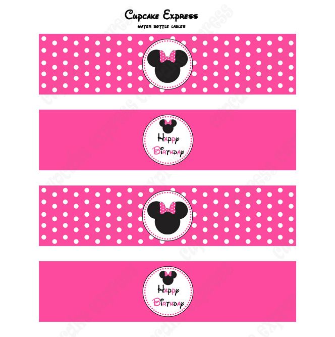 free minnie mouse printables | MINNIE MOUSE PRINTABLE WATER BOTTLE LABELS PINK #2
