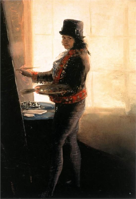 Goya - Self Portrait in the Studio (note the illuminated hat...)