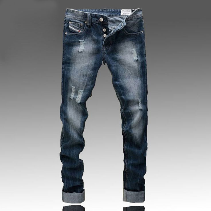 Famous  brand-clothing Fashion Designer Jeans Men Straight Blue Color Printed Mens Ripped Jeans,Skinny Biker jeans homme